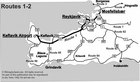 Map Biking Iceland Route 1 to 2
