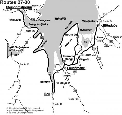 Iceland Map Routes 27-30