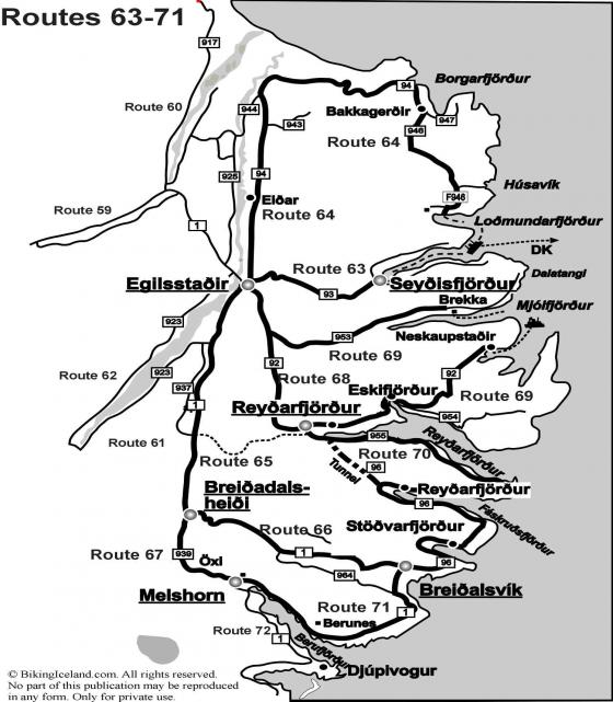 Map Iceland Routes 63-71