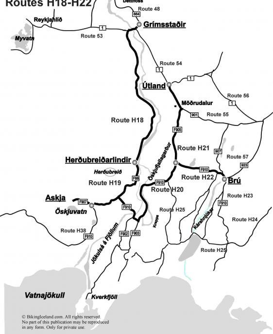 Highlandroutes H18_H22 around Askja