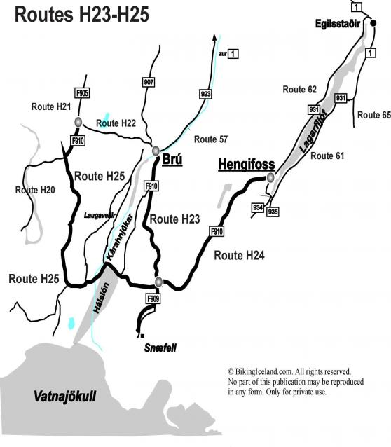 Maps Iceland Highland Routes H23-H25