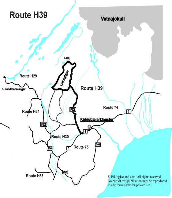 Map Iceland Route H39 Lakagigar